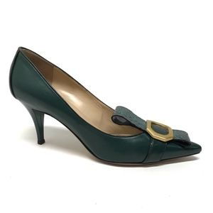 ESCADA Dark Green Pointed Toe Heels 38.5